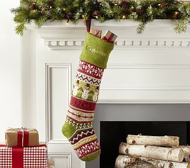 Large Green Snowman Classic Fair Isle Stocking #pbkids | Christmas ...