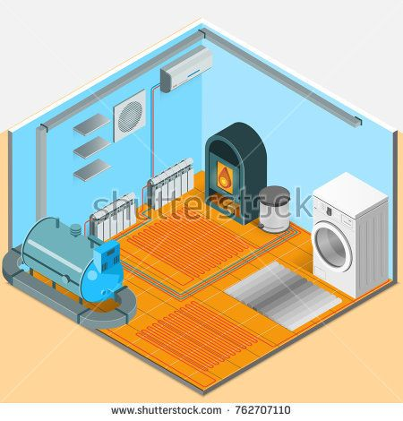 Stock Photo Heating Cooling System Interior Isometric Template Of