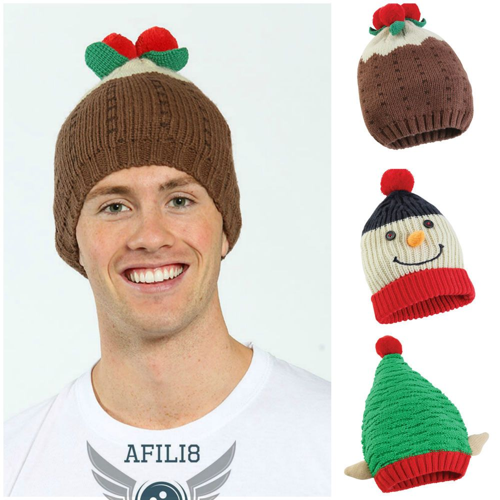 17a0c4f7 Mens Ladies Womens Christmas Beanie Hat Bobble Novelty Xmas Pudding Snowman  Elf
