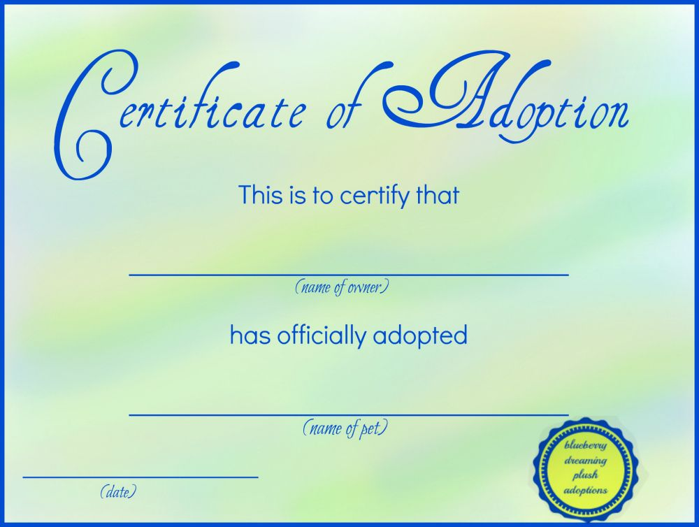 picture about Free Printable Adoption Certificate referred to as Printable Loaded Animal Adoption Certificates Cost-free