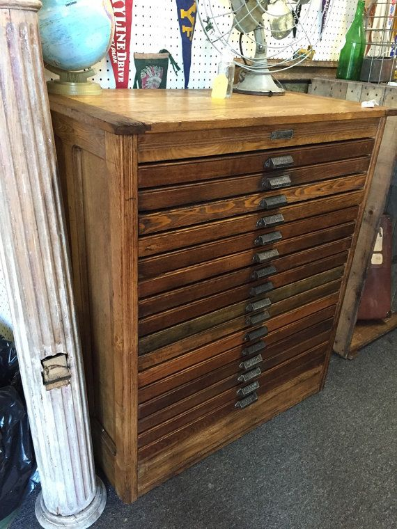 Antique Hamilton Printing Map Cabinet For Letterpress Type