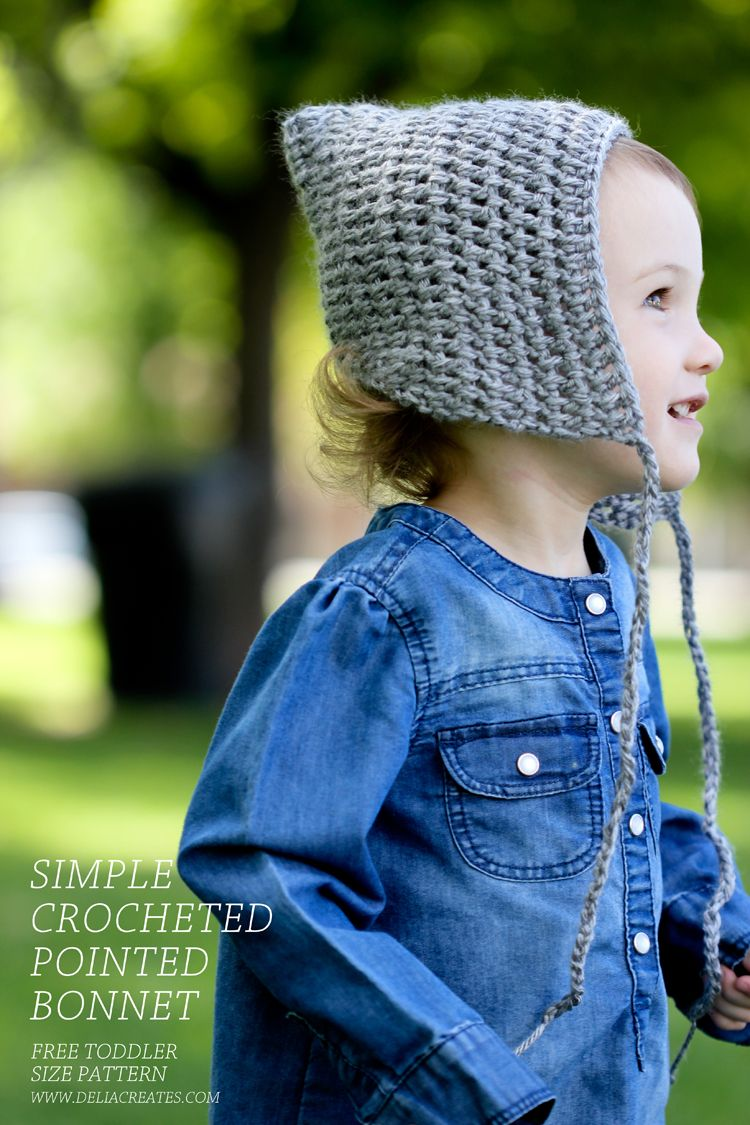 Simple Crocheted Pointed Bonnet - Free Toddler Size Pattern! Great for newbie beginners or for a quick afternoon project. ✿⊱╮Teresa Restegui http://www.pinterest.com/teretegui/✿⊱╮