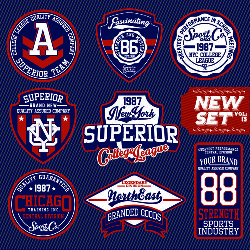 Vintage T shirt labels creative vector material 03 T