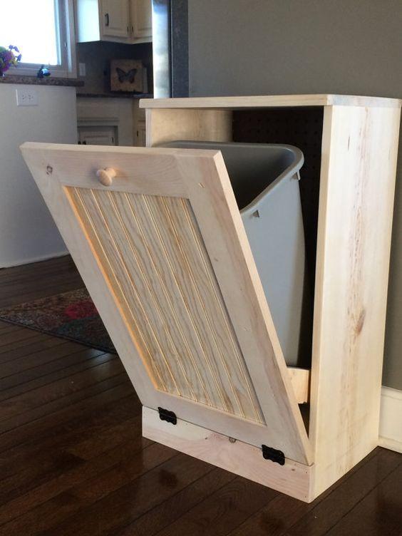 Hidden Storage Recycling Bins Kitchen Diy Furniture Trash Can Cabinet