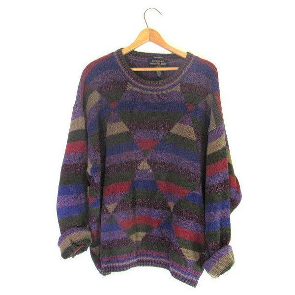 1c922a1c5376 Vintage oversized striped BILL COSBYpurple knit Sweater    XL ( 24 ...