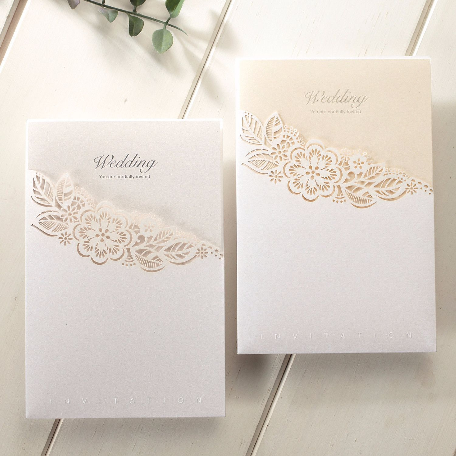 Laser Cut Pocket Floral Lace Wedding Invitations – CCL 8017 - Gold ...