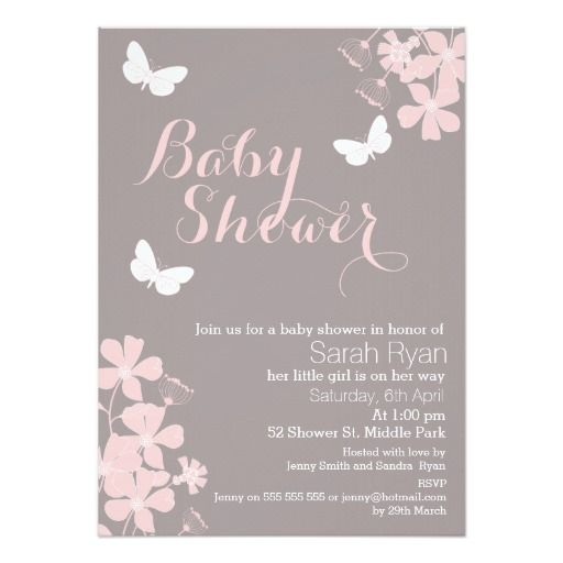 Floral Butterflies Girls Baby Shower Invitation  Shower