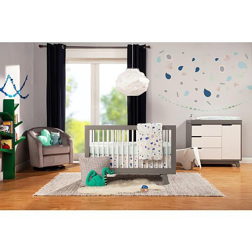 babyletto hudson 3in1 convertible crib with toddler rail greywhite