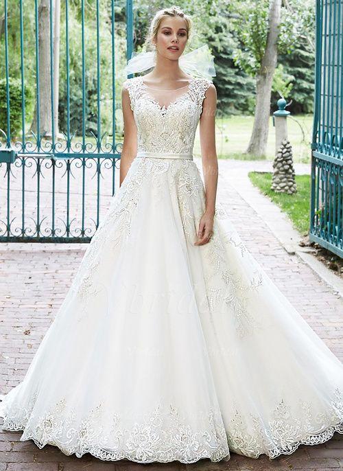 Bröllopsklänningar - $222.99 - Balklänning Rund-urringning Chapel släp Tyll Bröllopsklänning med Spetsar Pärlbrodering (0025056512)
