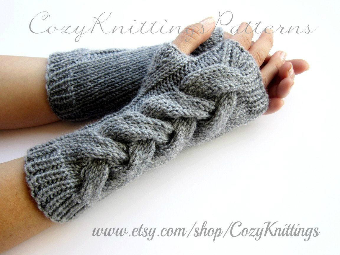 PDF knitting Pattern cabled long arm warmers fingerless gloves ...