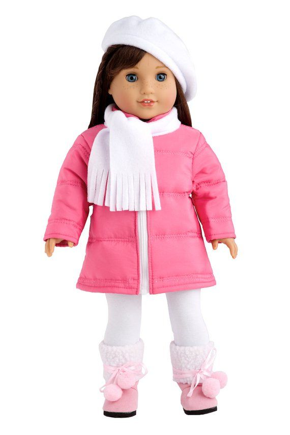 Parisian Adventure  Clothes for 18 inch American Girl Doll  Stylish Pink Coat, White Beret, Scarf and Leggings with Pink Boots is part of Pink Clothes For Girls - Now your doll can go outside without the worry of getting cold  Outfit includes stylish pink coat, white beret, scarf and leggings as well as pink boots   Doll coat uses zipper for easy dressing and clothing removal   Our doll clothes fits 18 inch American Girl dolls   Designed in the USA and sold Exclusively by DreamWorld Collections   DOLL(S) NOT INCLUDED  U S  CPSIA CHILDREN'S PRODUCTS SAFETY CERTIFIED
