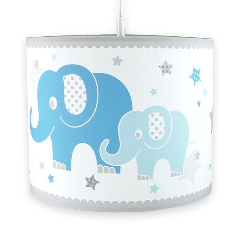 kinderzimmer lampenschirm elefanten blau grau 40cm. Black Bedroom Furniture Sets. Home Design Ideas