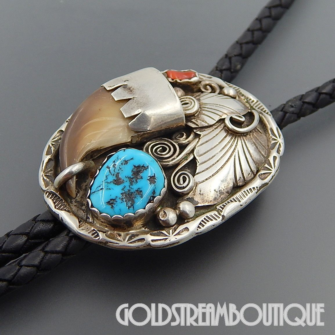 Vintage Native American Sterling Silver Turquoise Bolo Tie