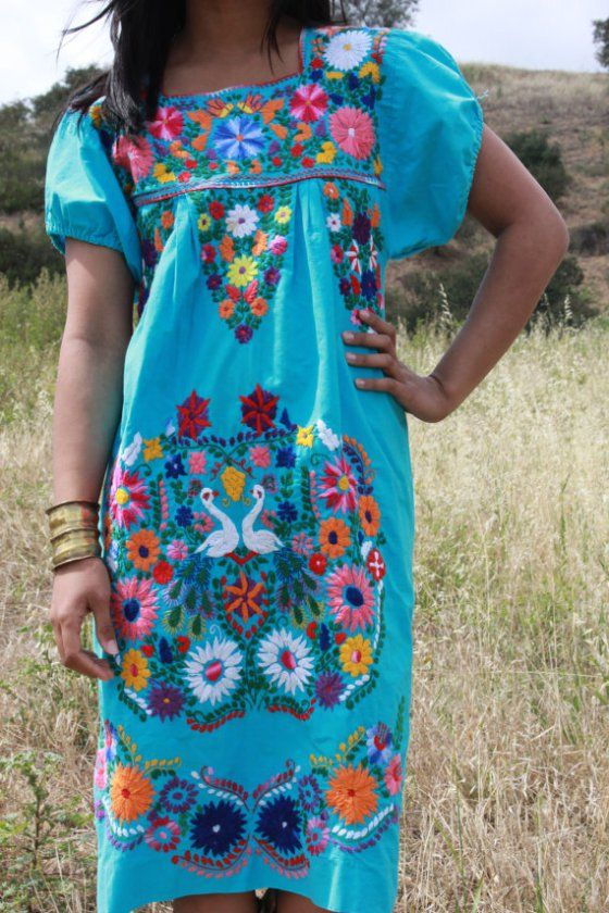 Vintage Embroidered Mexican Dress Turquoise Flowers Etsy More