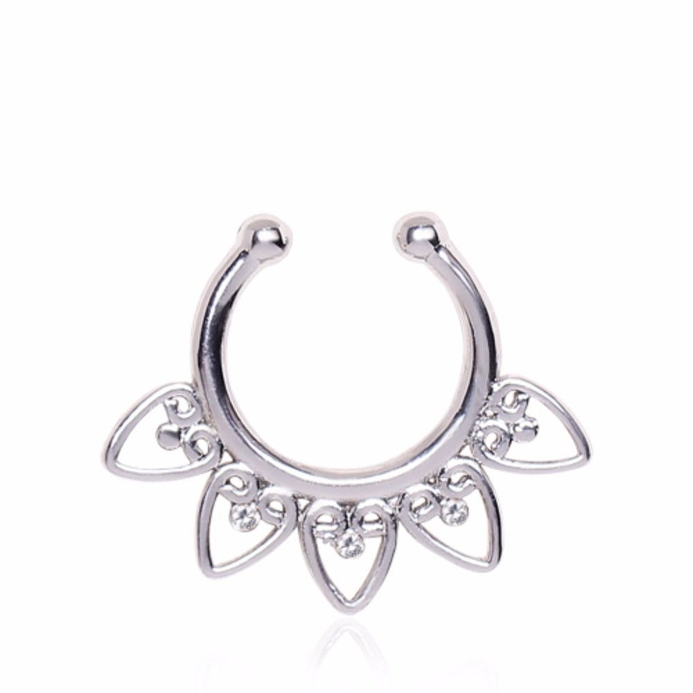 Body piercing jewelry types  Ornamental Hearts Fake Septum Ring  Heart Products and Septum ring