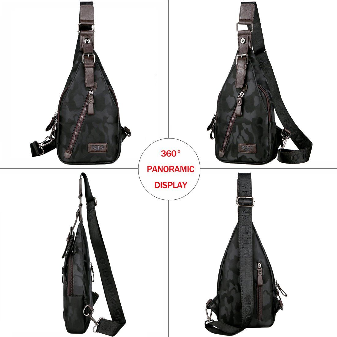 5f7bb561f5e8 VICUNA POLO Sling Backpack Men Leather Chest Bag Crossbody Shoulder Bag For  Men camouflage black   To view further for this item