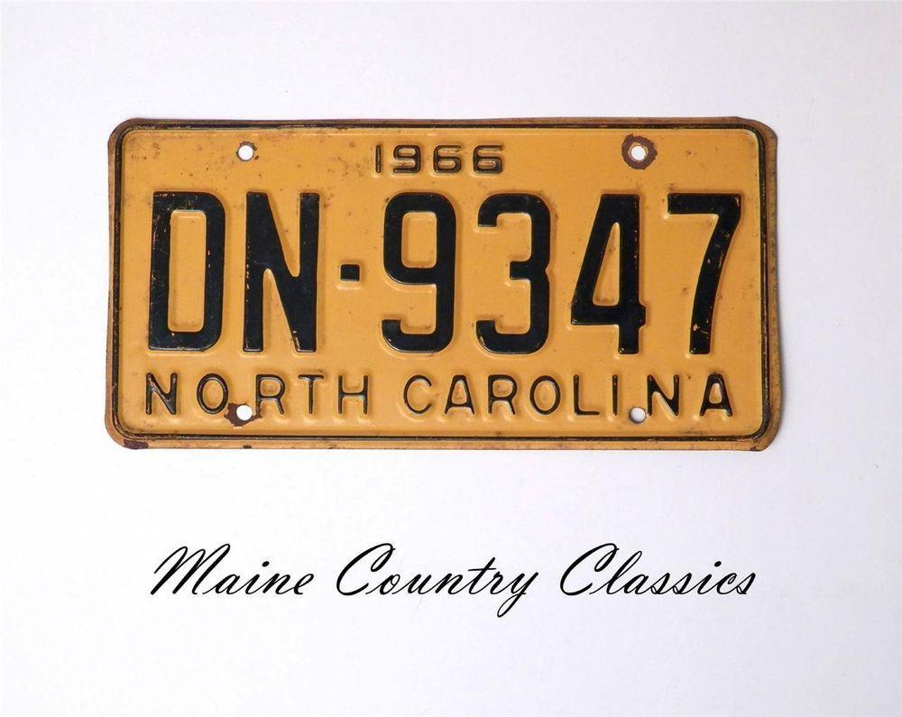 1966 NORTH CAROLINA LICENSE PLATE TAG NC No. DN9347 Nice
