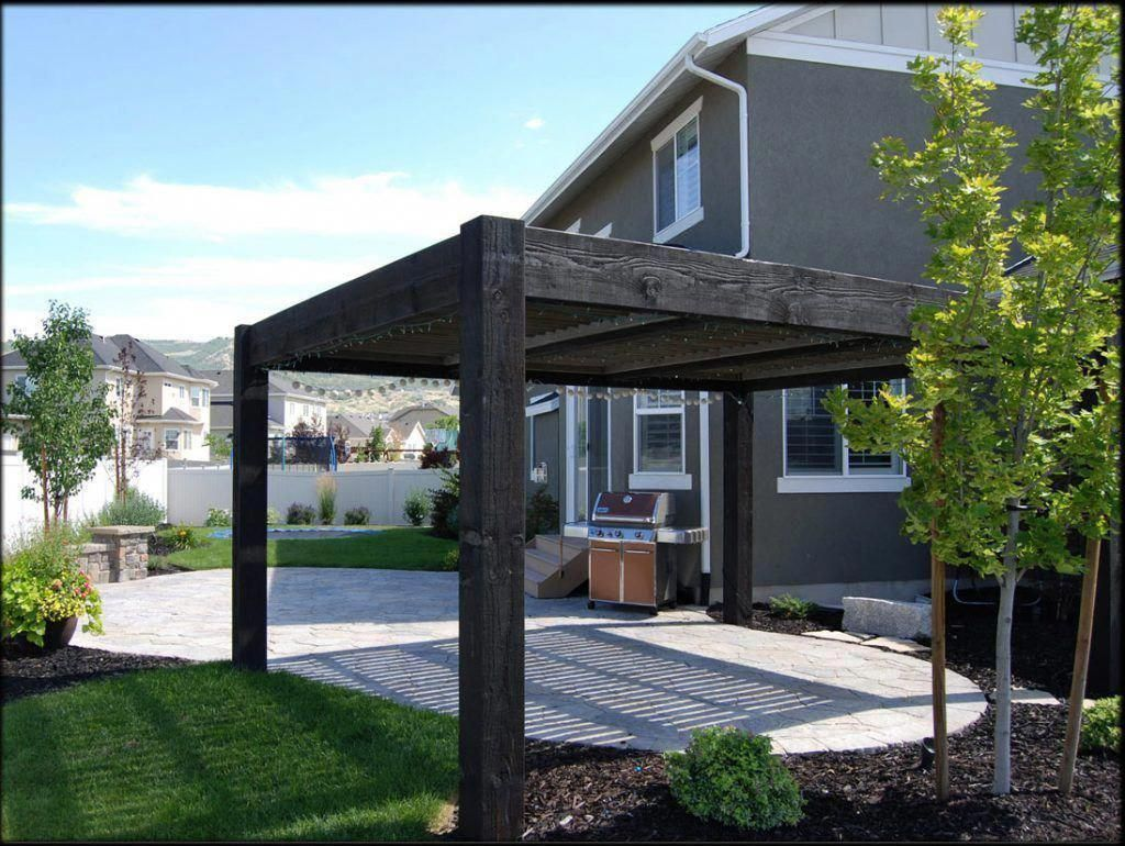 Modern Pergola Kit Louvered Roof Pergola Black Stained Classic House And  Elegant Design Modern With Simple Led Lights Items #pergolawithroof  #PergolaFirePit - Modern Pergola Kit Louvered Roof Pergola Black Stained Classic House