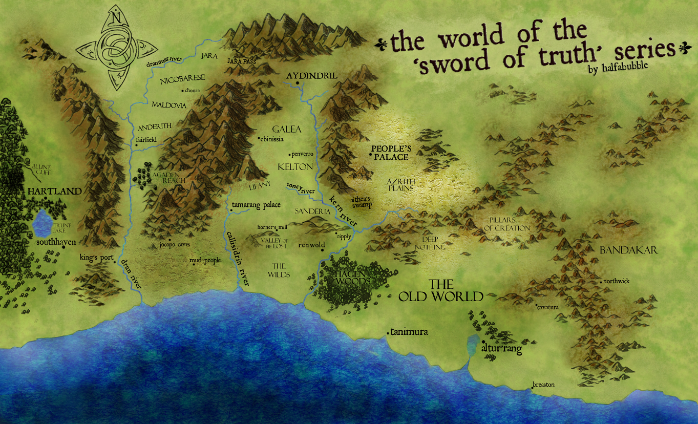 sword of truth world map The World Map Of The Sword Of Truth Series Sword Of Truth Sword