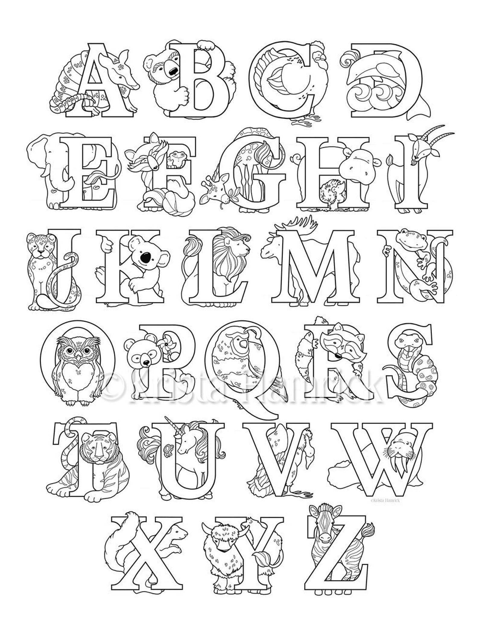 Animal Alphabet Coloring Page 8 5x11 Etsy Alphabet Coloring Pages Abc Coloring Pages Animal Coloring Pages