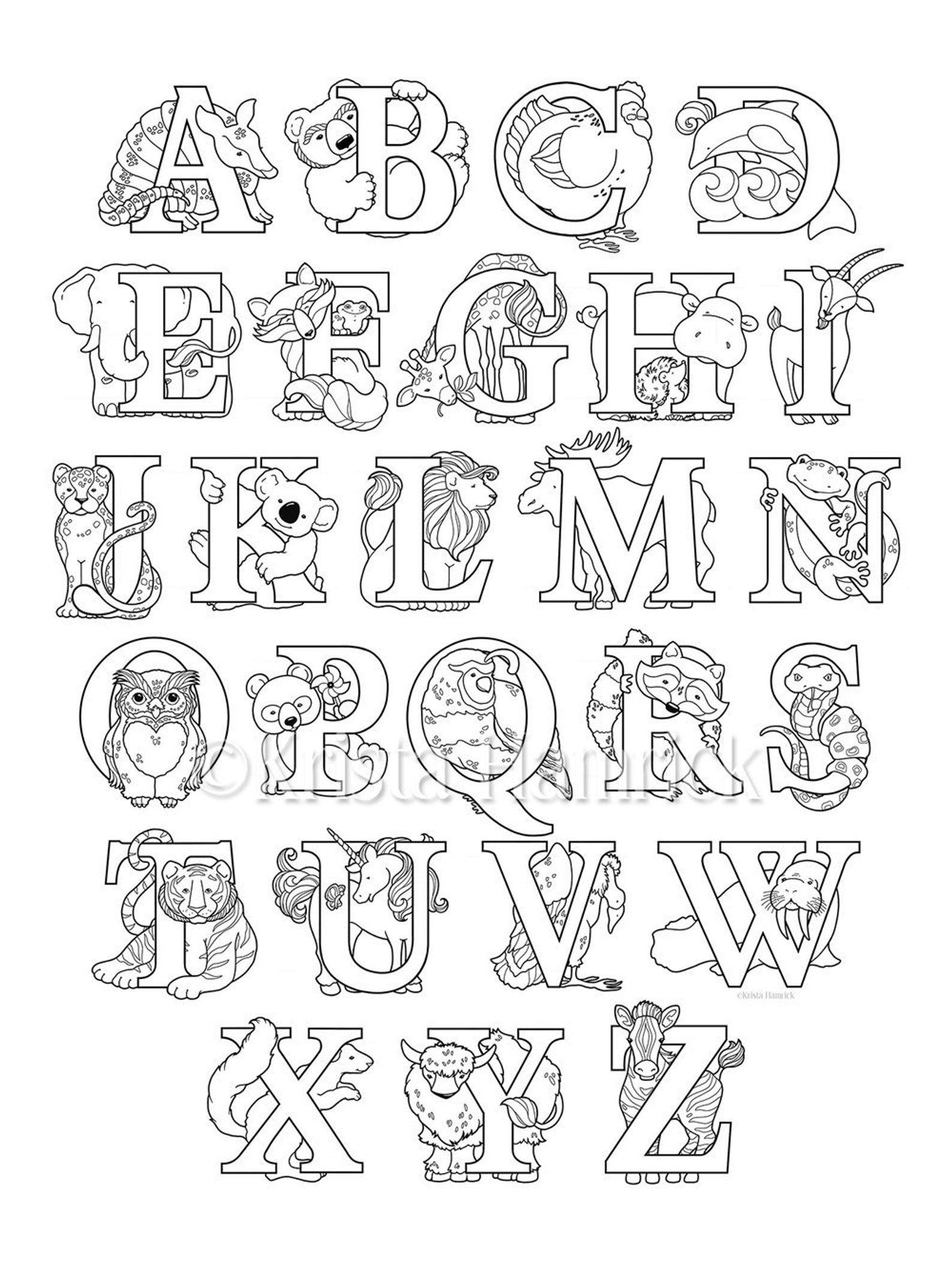 Animal Alphabet Coloring Page 8 5x11 Etsy Alphabet Coloring Pages Abc Coloring Pages Alphabet Coloring