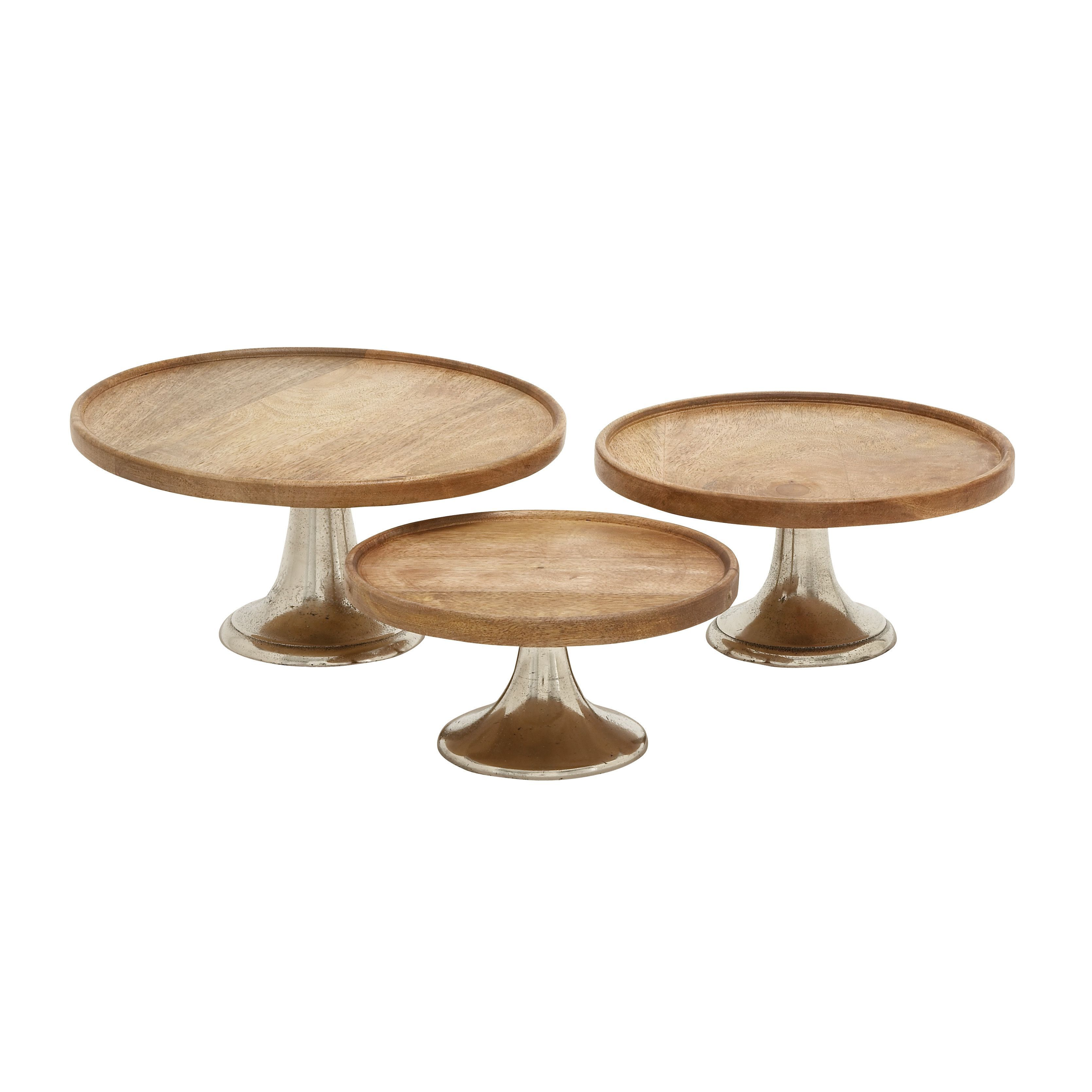 Set Of 3 Modern 10 12 And 14 Inch Pedestal Cake Plates By