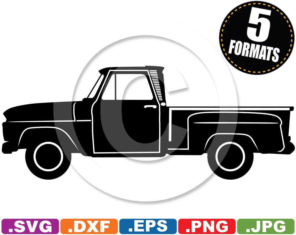 medium resolution of 1965 chevy c10 stepside pickup clip art image svg amp dxf cutting files for