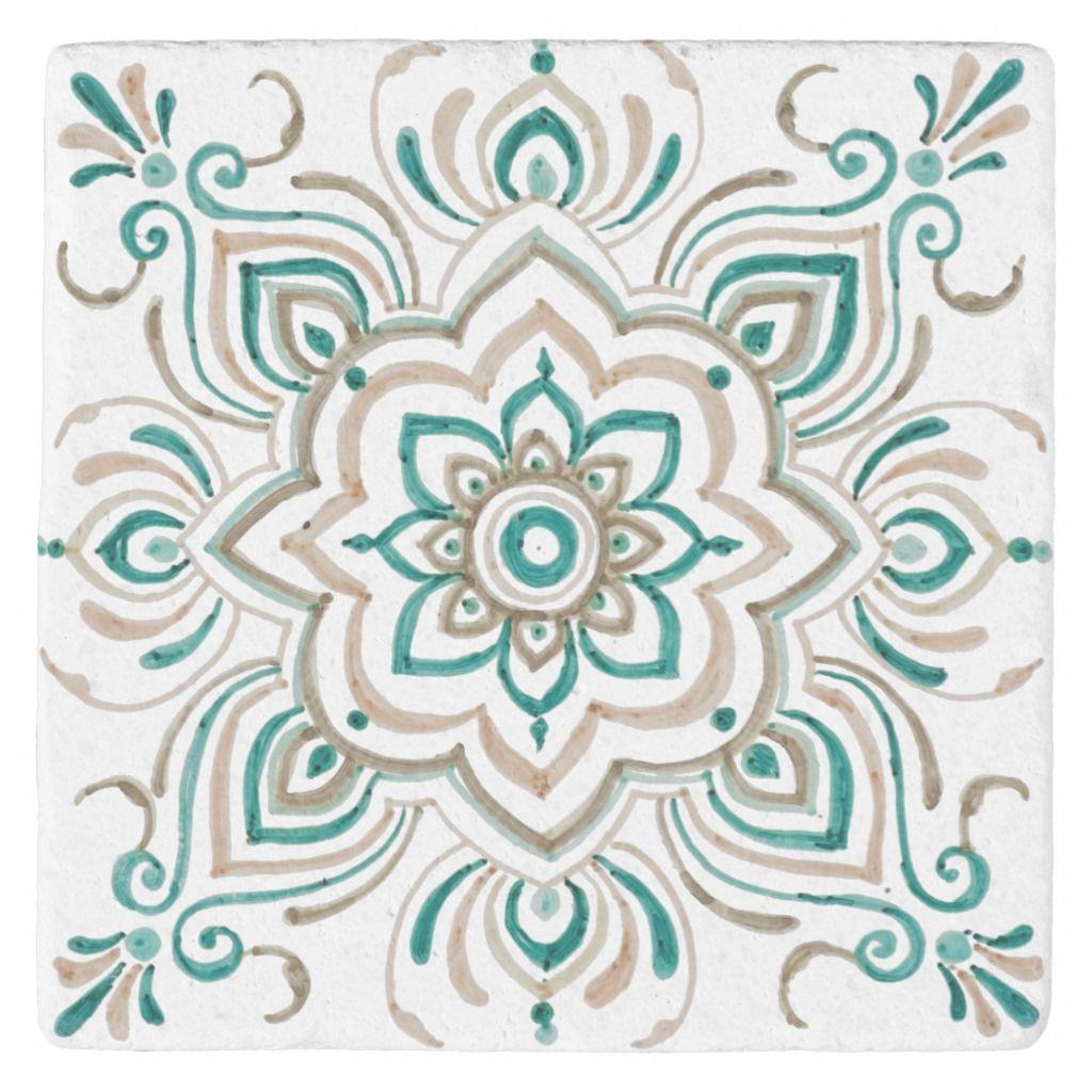 Teal Vintage Spanish Tile Coaster In