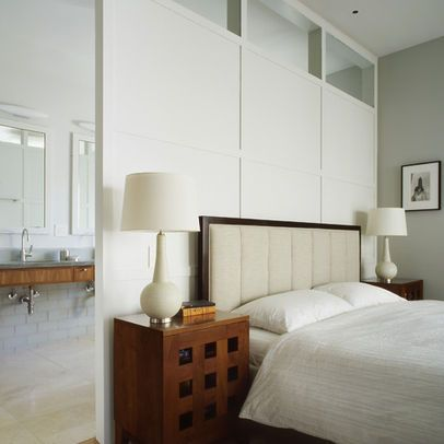 Windows above bed in room divider? One way to utilise salvaged window that we love.....