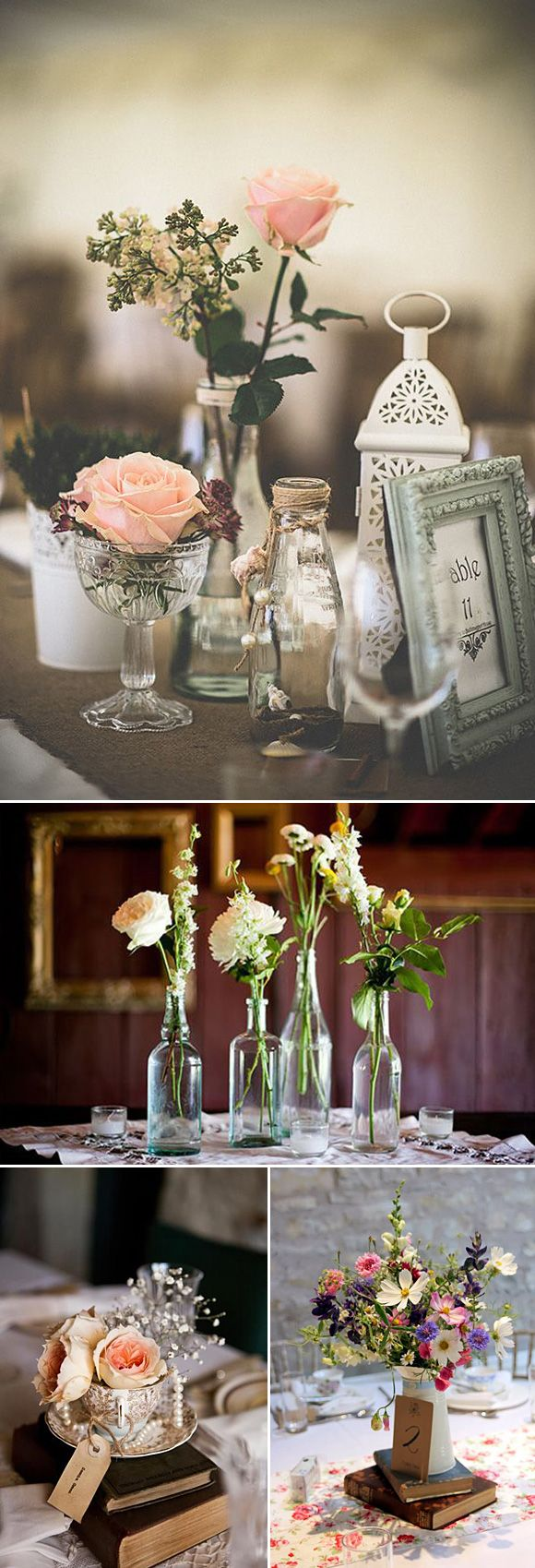 Centros de mesa para bodas vintage wedding decor ideas - Decoracion vintage ideas ...