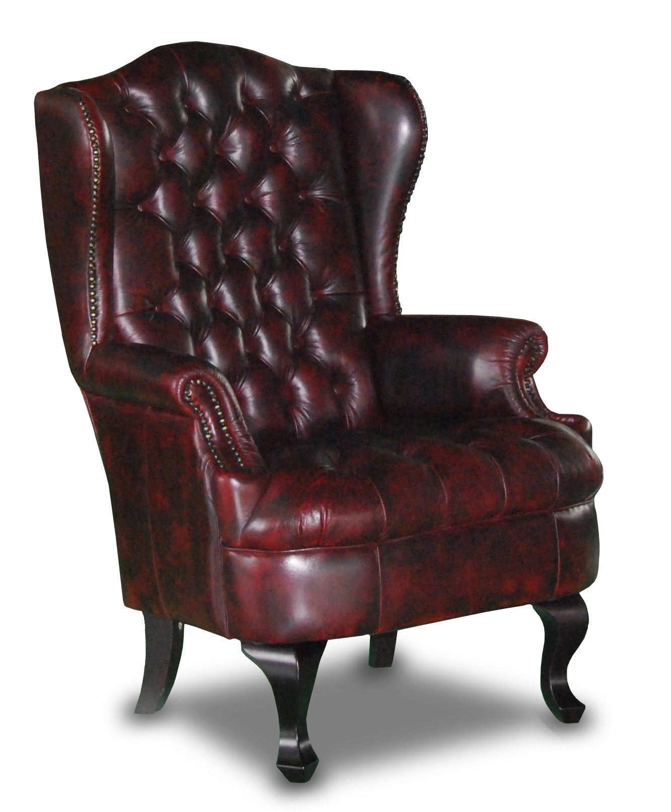 Seater queen anne high back wing sofa uk manufactured antique green - Nadia Leather Chesterfield Wing Chair