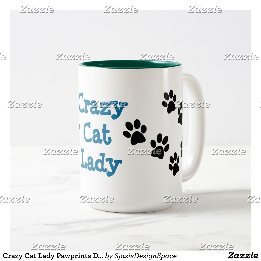 Crazy Cat Lady Pawprints Design Coffee Mug
