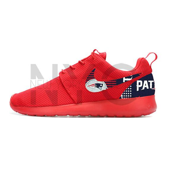 New England Patriots Nike Roshe One Varsity Red Custom Men  641f334ed