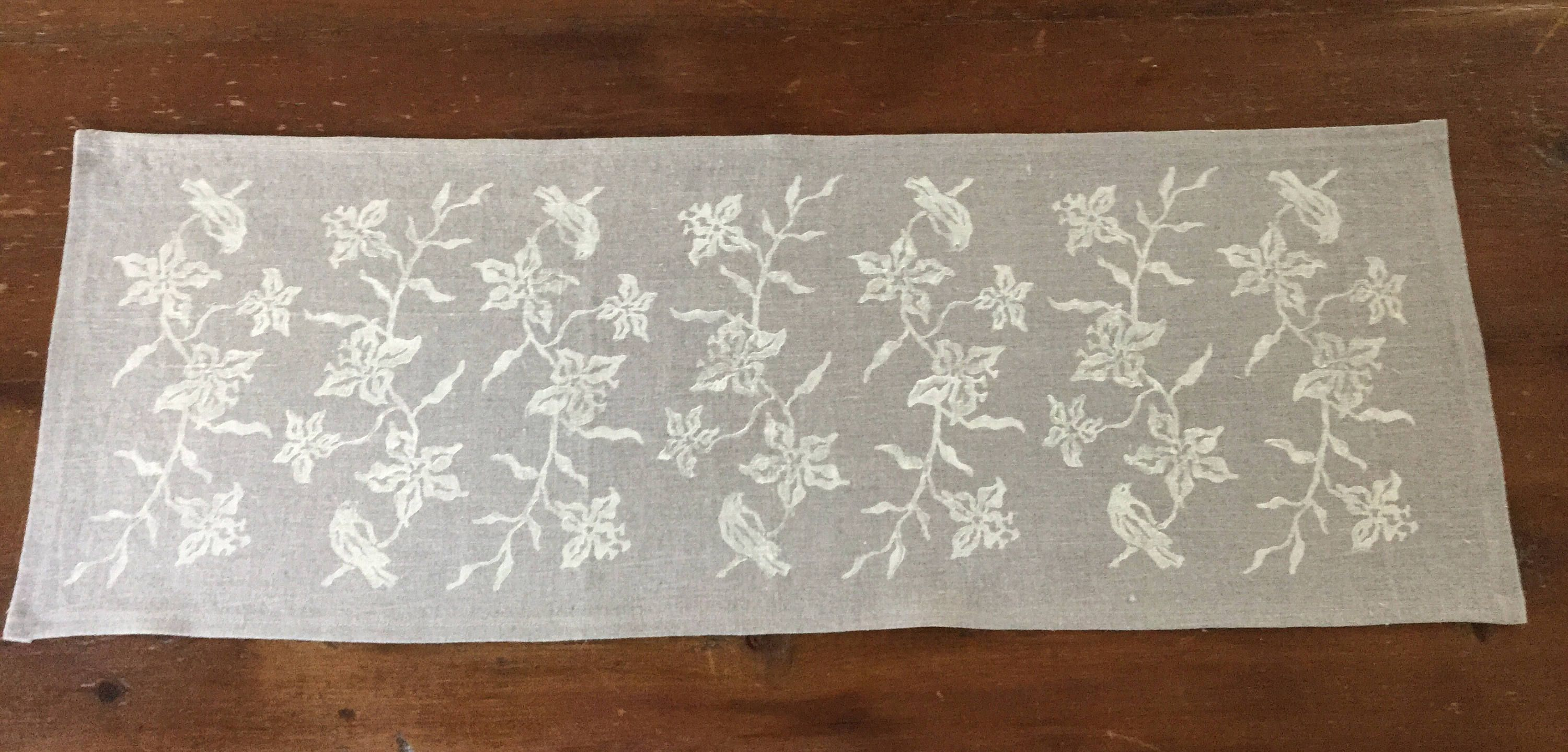 Natural Linen Table Runner Small Handprinted Runner For Table