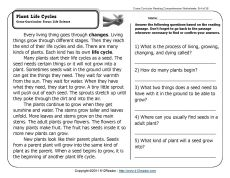 Plant Life Cycles | Reading comprehension worksheets ...