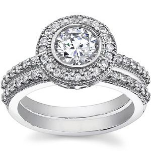 round forever brilliant antique bezel halo wedding ring set - Halo Wedding Ring