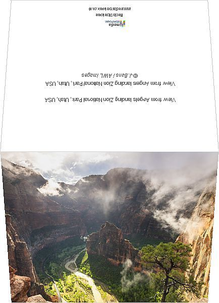 Greetings Card-View from Angels landing Zion National Park, Utah, USA-6x8 inch Greetings Card made in the UK