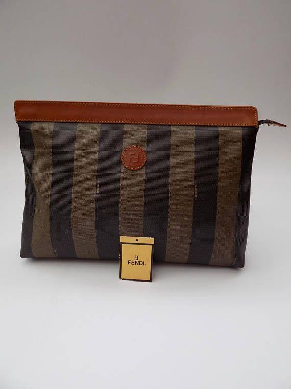 39d97a37ec Sale FENDI Vintage Pequin Black and Brown Clutch  Cosmetic
