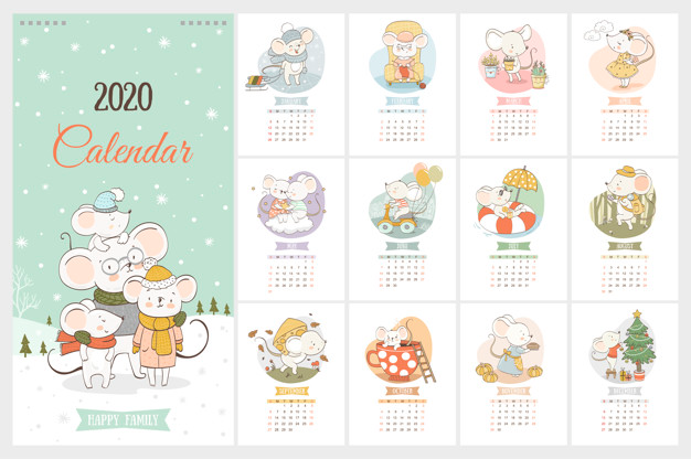 2020 Year Calendar With Cute Mice In Cartoon Hand Drawn Style 2020 Dokular