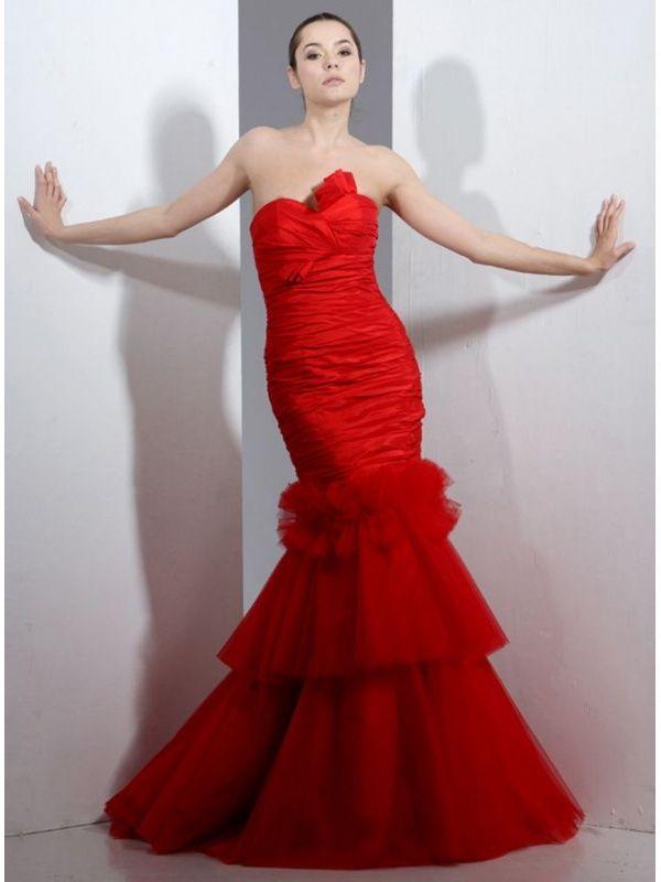 ba45aeb81fcb Vestiti da sposa a Sirena rossi con scollo a cuore in taffetta ...