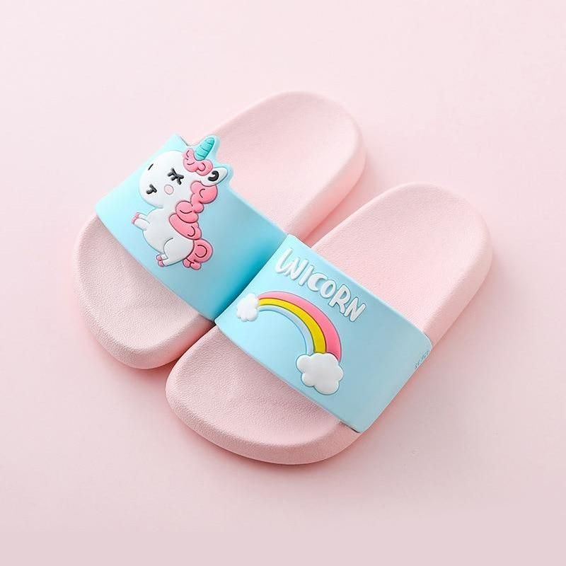Photo of Rainbow Unicorn Slippers For Boys Girls New Summer Kids Beach Shoes Baby Toddler Soft Indoor Slippers Children Sandals – Lavender / 22