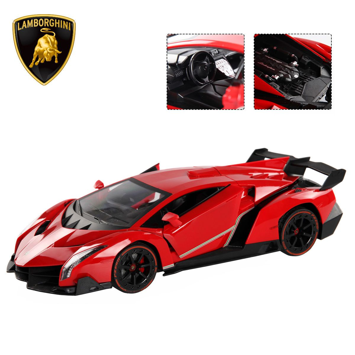 1:14 4CH Lamborghini Veneno RC Car Radio Remote Control W/ Open Doors Red  New