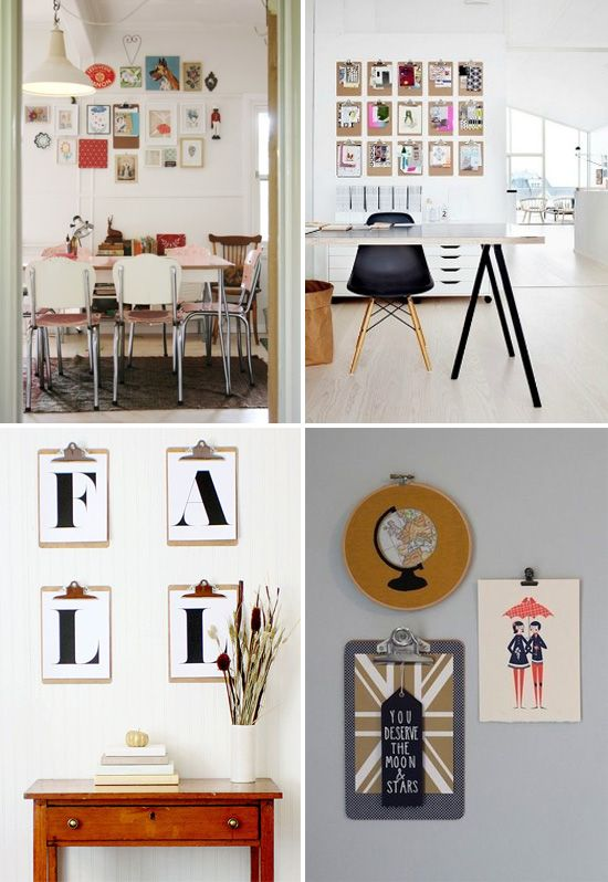 5 Creative Ways to Hang Artwork Without a Frame - Clipboards (I like this  for the office.