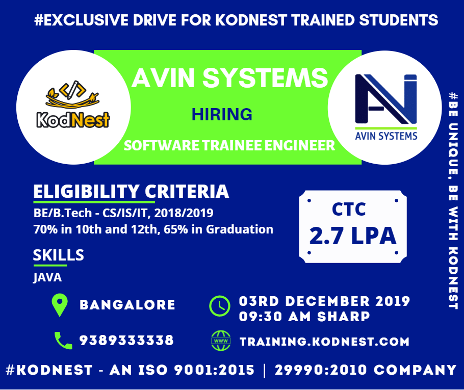 Kodnest Drive For Avin Systems Designation Software Trainee Engineer Eligibility Criteria 2018 An Engineering Student