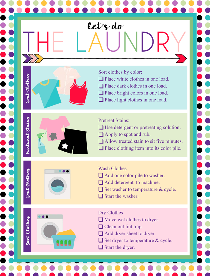Free Printable Laundry Chart School Organization For Teens