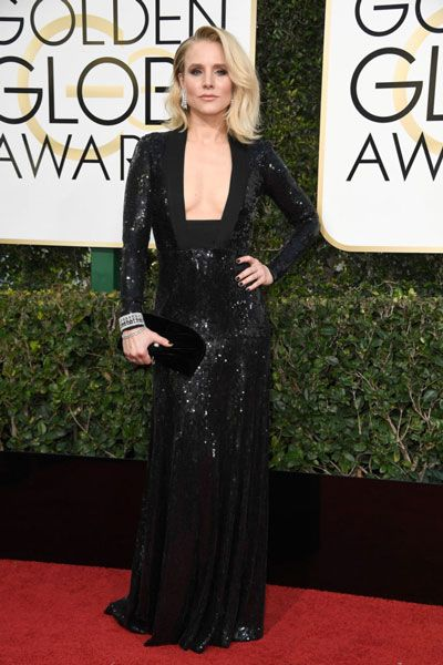 Kristen Bell took the plunge -- and  made a splash -- in this sequined black gown with a unique and deliciously risqué neckline