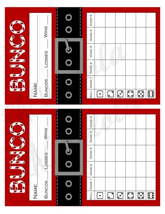 Santa Suit Bunco Score Card, Score Sheet, Christmas Bunko