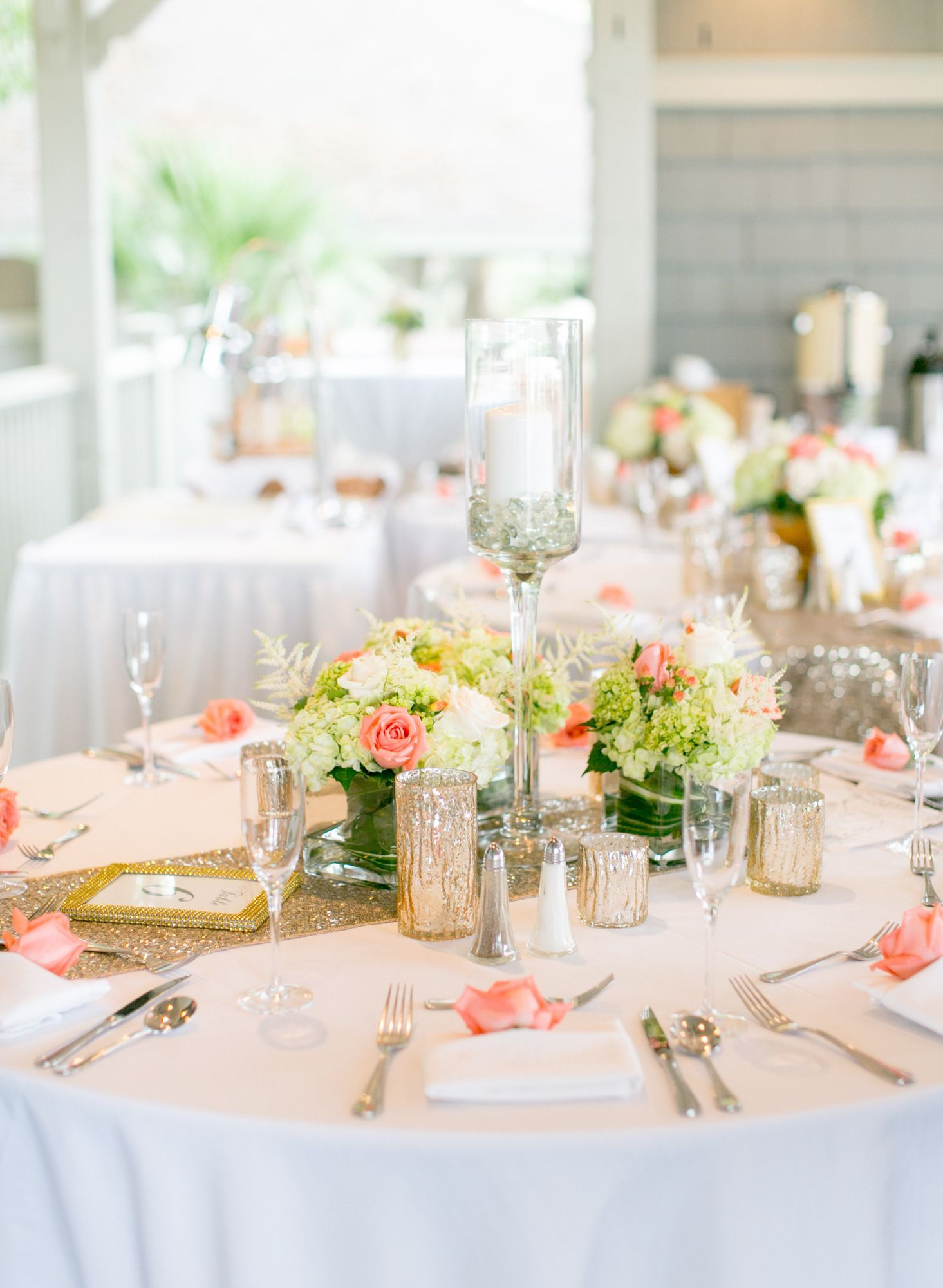 Gold Table Runners And Vibrant Hydrangea Centerpieces Wedding