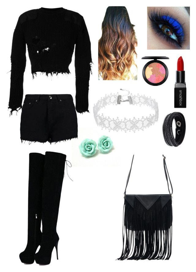 """Black Club"" by universal-mess on Polyvore featuring Boohoo, Yeezy by Kanye West, Smashbox, MAC Cosmetics, Swarovski and WithChic"