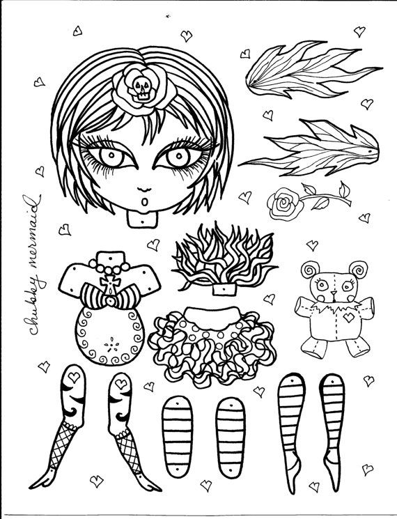 Instant Download Funky Fairy Paper Doll Be the Artist Coloring page ...